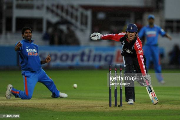Graeme Swann of England is run out by Munaf Patel of India during the 4th Natwest One Day International match between England and India at Lord's...