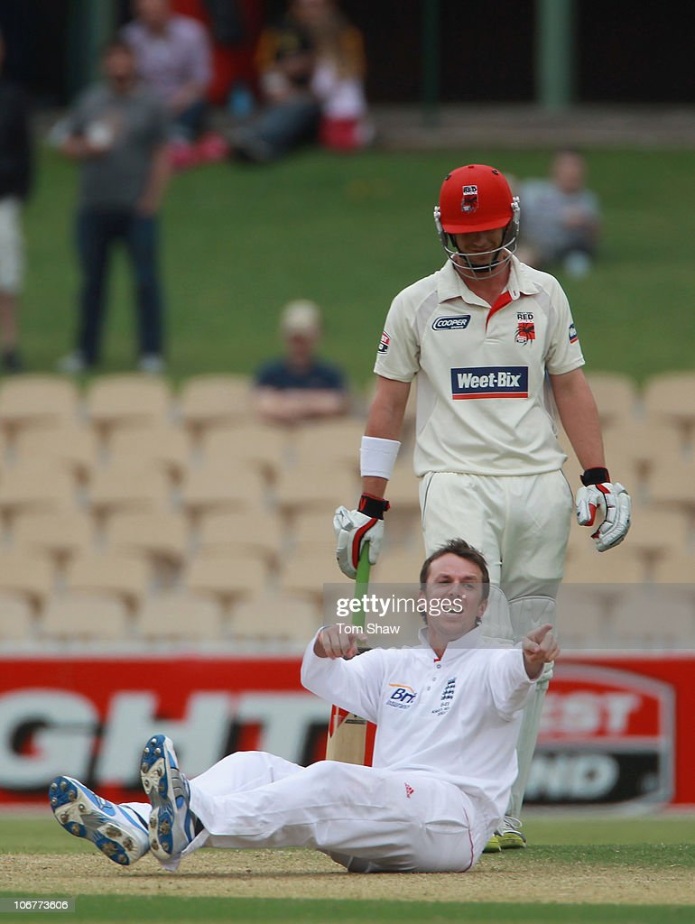 <a gi-track='captionPersonalityLinkClicked' href=/galleries/search?phrase=Graeme+Swann&family=editorial&specificpeople=578767 ng-click='$event.stopPropagation()'>Graeme Swann</a> of England laughs after he fell over while appealing during day two of the Tour Match between the South Australian Redbacks and England at Adelaide Oval on November 12, 2010 in Adelaide, Australia.