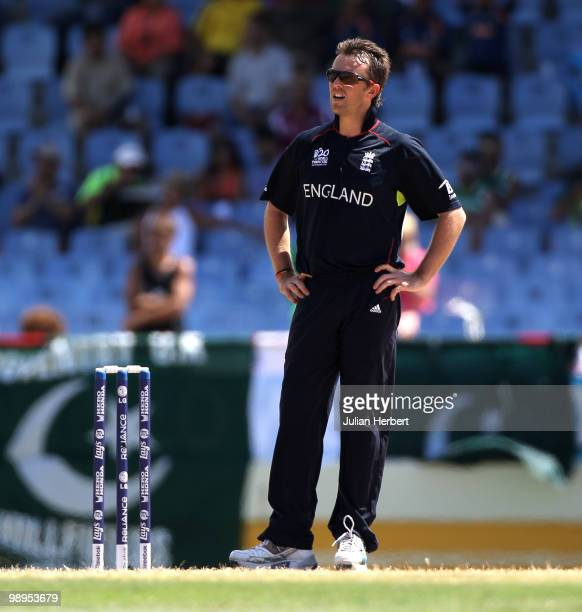 Graeme Swann of England looks displeased as runs are scored off his bowling during the ICC World Twenty20 Super Eight match between England and New...