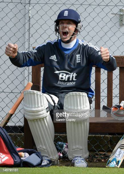 Graeme Swann of England shares a joke during a nets session at Edgbaston on June 6 2012 in Birmingham England