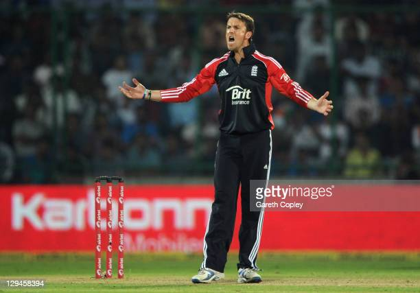 Graeme Swann of England shouts during the 2nd One Day International between India and England at Feroz Shah Kotla Stadium on October 17 2011 in Delhi...