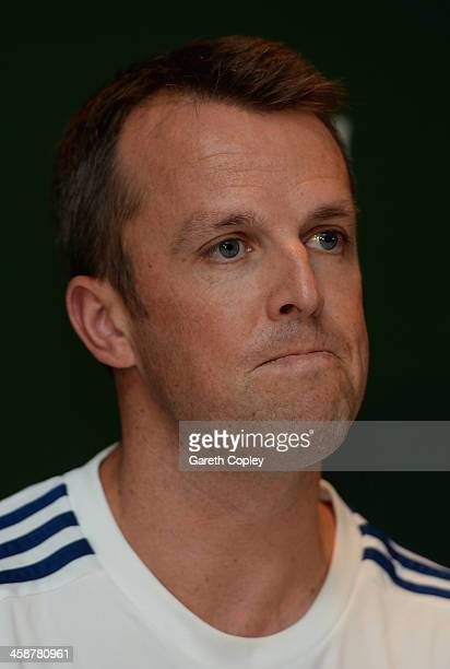Graeme Swann of England speaks at a press conference to announce his retirement from all forms of cricket at Melbourne Cricket Ground on December 22...
