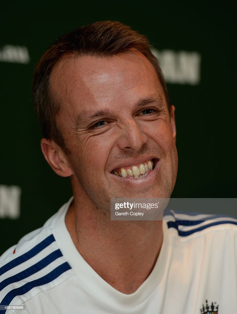 Graeme Swann of England speaks at a press conference to announce his retirement from all forms of cricket at Melbourne Cricket Ground on December 22, 2013 in Melbourne, Australia.