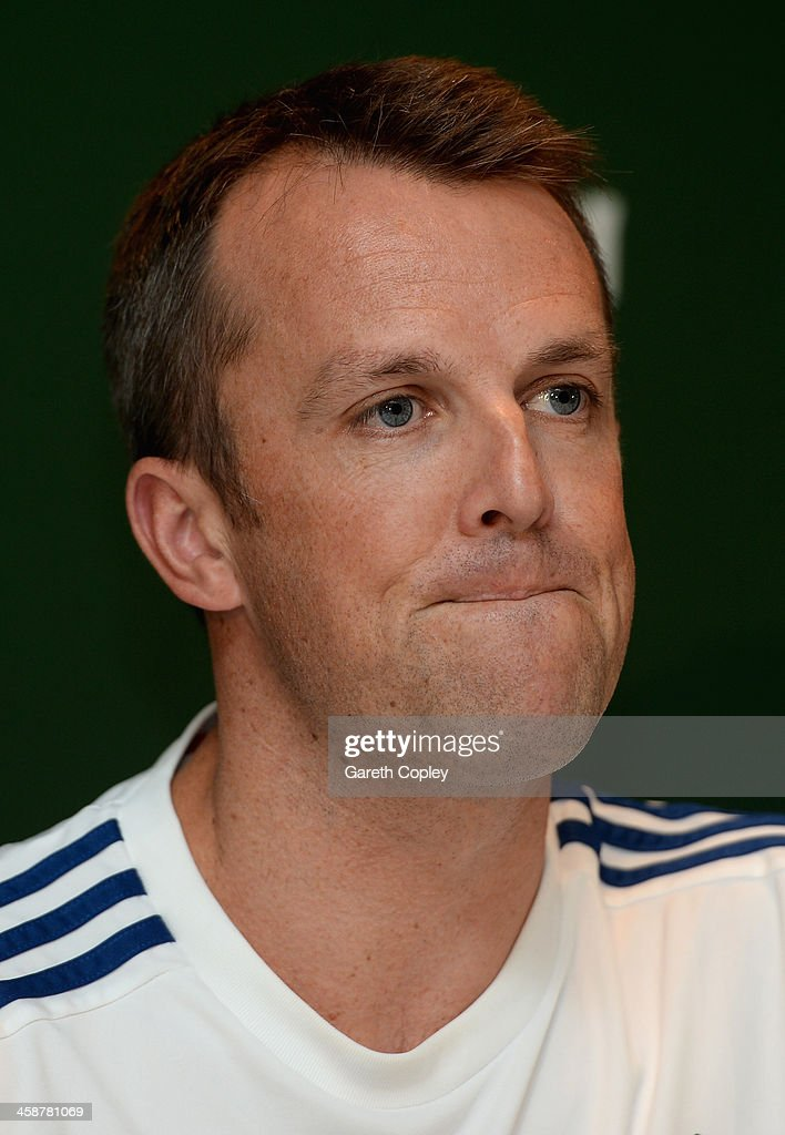 <a gi-track='captionPersonalityLinkClicked' href=/galleries/search?phrase=Graeme+Swann&family=editorial&specificpeople=578767 ng-click='$event.stopPropagation()'>Graeme Swann</a> of England speaks at a press conference to announce his retirement from all forms of cricket at Melbourne Cricket Ground on December 22, 2013 in Melbourne, Australia.