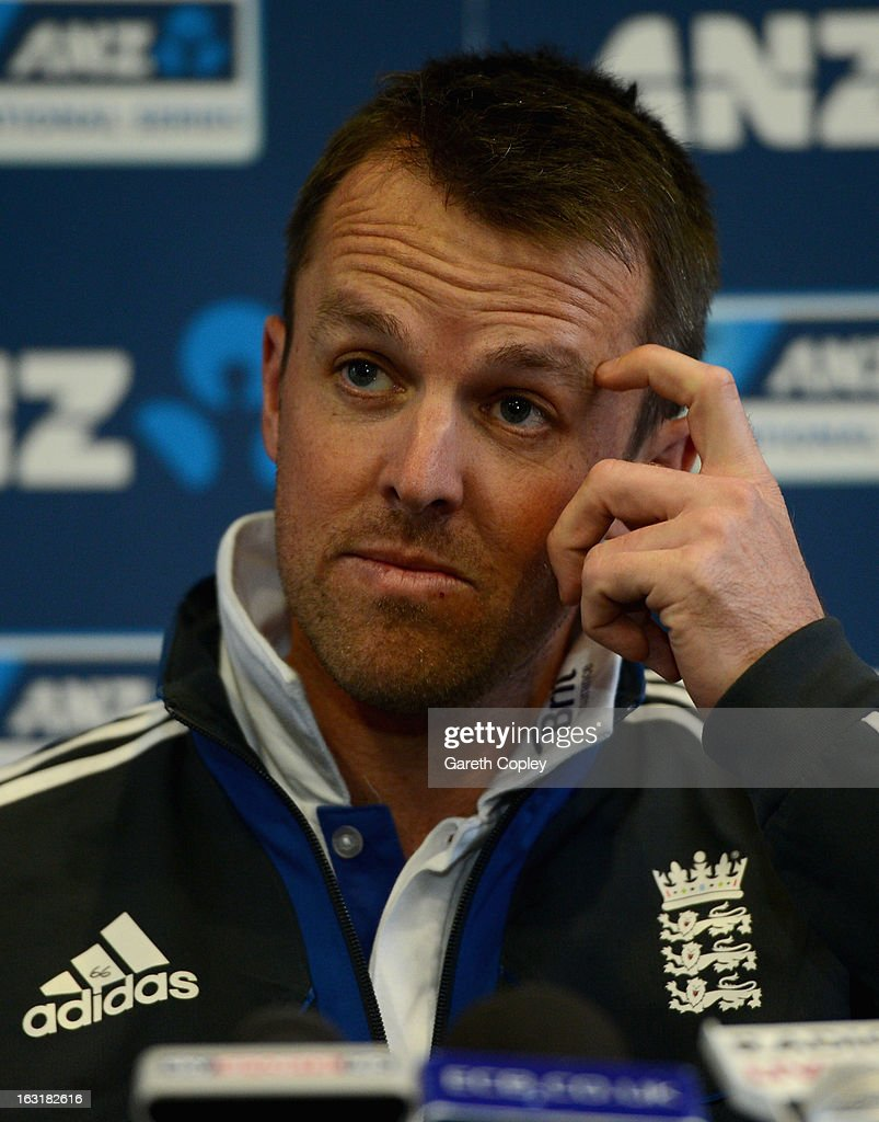 <a gi-track='captionPersonalityLinkClicked' href=/galleries/search?phrase=Graeme+Swann&family=editorial&specificpeople=578767 ng-click='$event.stopPropagation()'>Graeme Swann</a> of England speaks during a press conference after day one of the First Test match between New Zealand and England at University Oval on March 6, 2013 in Dunedin, New Zealand.