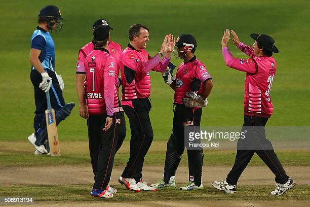 Graeme Swann of Libra Legends celebrates the wicket of Neil Carter of Leo Lions with his teammates during the Oxigen Masters Champions League match...