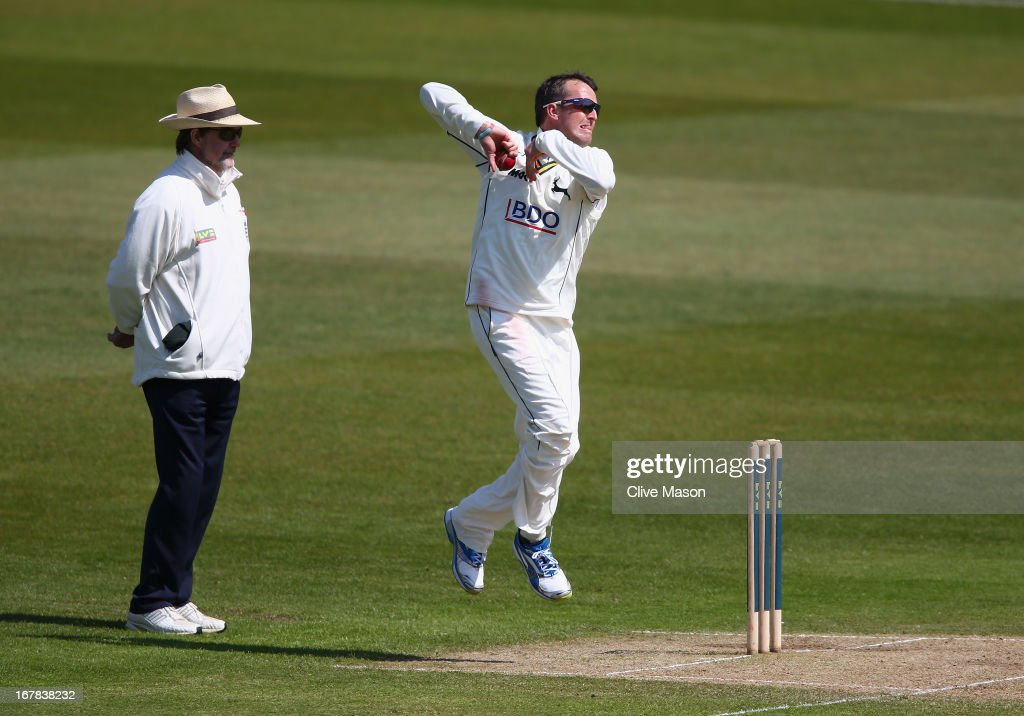 <a gi-track='captionPersonalityLinkClicked' href=/galleries/search?phrase=Graeme+Swann&family=editorial&specificpeople=578767 ng-click='$event.stopPropagation()'>Graeme Swann</a> of Nottinghamshire in action bowling during day three of the LV County Championship division one match between Nottinghamshire and Durham at Trent Bridge on May 01, 2013 in Nottingham, England.