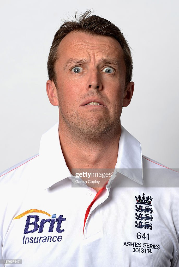 Graeme Swann pulls a funny face during an England cricket headshots session at the InterContinental Sydney on November 11, 2013 in Sydney, Australia.