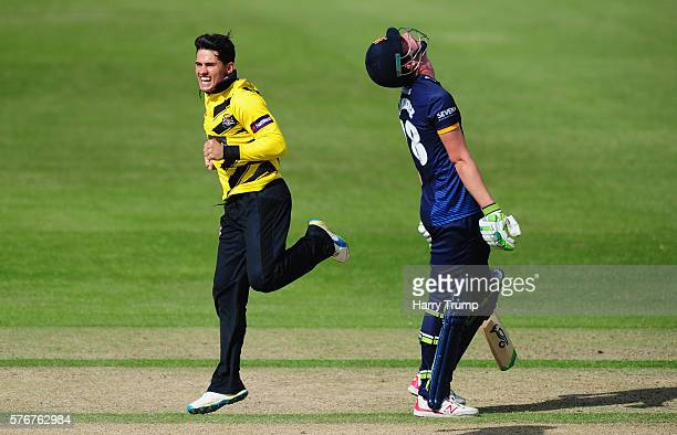 Graeme Van Buuren of Gloucestershire celebrates after dismissing Dan Lawrence of Essex during the Natwest T20 Blast match between Gloucestershire and...