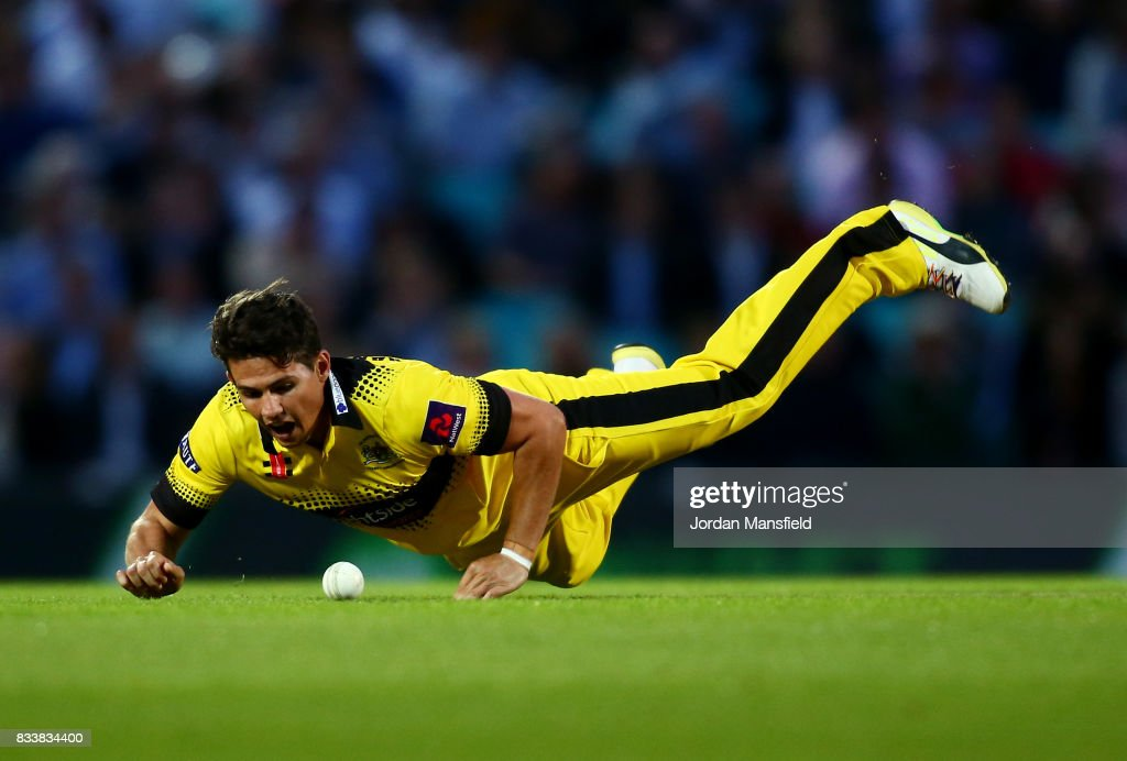 Graeme van Buuren of Gloucestershire dives to field a ball during the NatWest T20 Blast match between Surrey and Gloucestershire at The Kia Oval on August 17, 2017 in London, England.