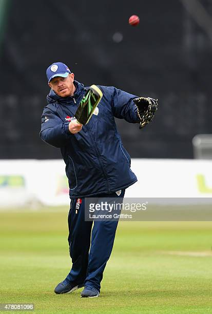 Graeme Welch of Derbyshire warms up his players prior to the LV County Championship match between Derbyshire and Surrey at The County Ground on June...