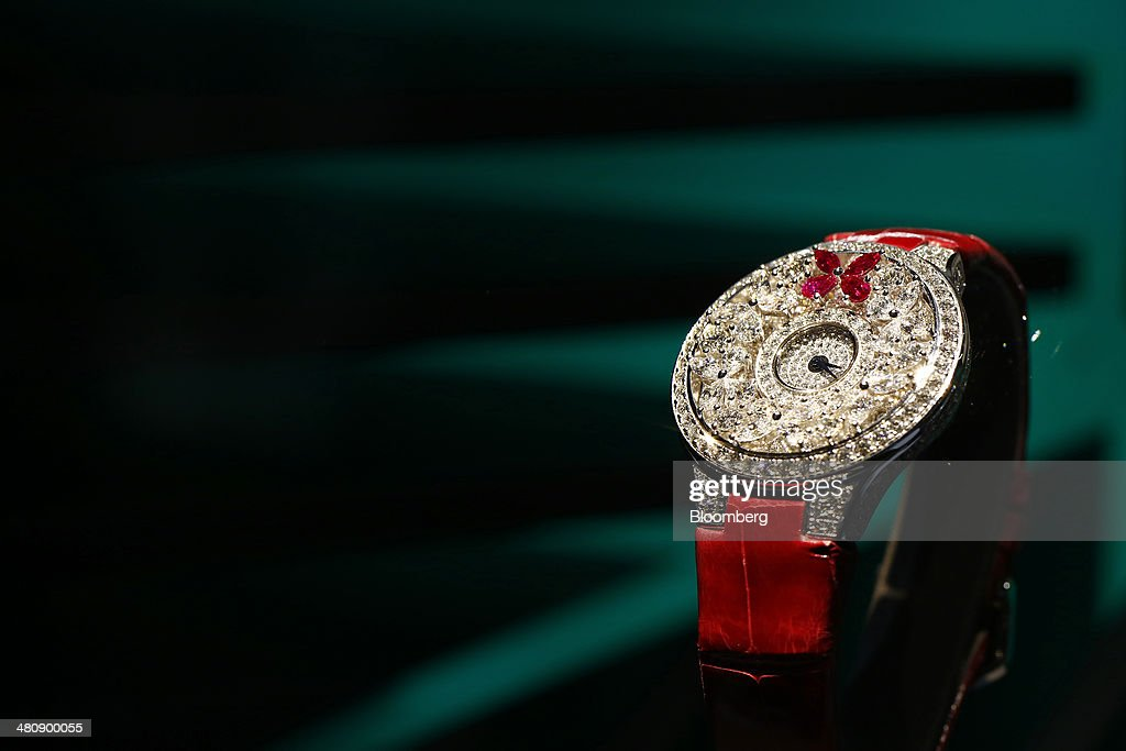A Graff Butterfly wristwatch, produced by Graff Diamonds Ltd., sits on display at the company's booth during the Baselworld luxury watch and jewelry fair in Basel, Switzerland, on Thursday, March 27, 2014. Over 1,400 companies from the watch, jewelry and gem industries will display their latest innovations and products to more than 120,000 visitors at this year's luxury show. Photographer: Gianluca Colla/Bloomberg via Getty Images