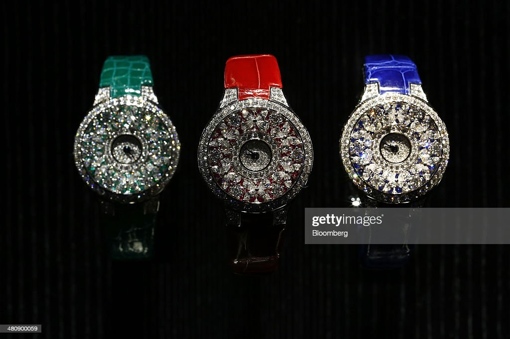 Graff Leaf wristwatches, produced by Graff Diamonds Ltd., sit on display at the company's booth during the Baselworld luxury watch and jewelry fair in Basel, Switzerland, on Thursday, March 27, 2014. Over 1,400 companies from the watch, jewelry and gem industries will display their latest innovations and products to more than 120,000 visitors at this year's luxury show. Photographer: Gianluca Colla/Bloomberg via Getty Images