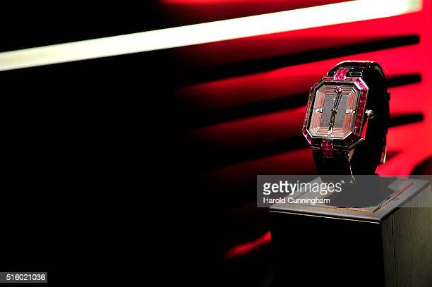 Graff watch is displayed during Baselworld on March 16 2016 in Basel Switzerland Held annually Baselworld is the most important watch and jewellery...