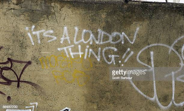 Graffiti adorns a wall near the site of the London 2012 Olympics in the East London borough of Stratford on February 24 2006 in London England...