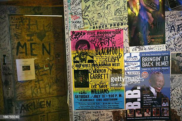 Graffiti and posters from previous shows cover the walls at Ground Zero Blues Club April 13 2013 in Clarksdale Mississippi Dozens of blues artists...