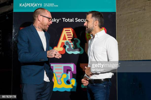 Graffiti Artist Ben Eine and Aldo del Bo Managing Director of Kaspersky stand with the design for Kaspersky Total Security at Moniker Art Fair 2017...
