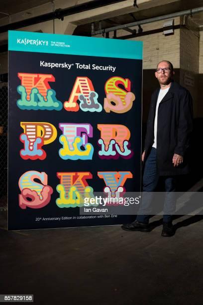 Graffiti Artist Ben Eine stands with his design for Kaspersky Total Security at Moniker Art Fair 2017 as part of Kaspersky Lab Art Sponsorship for...
