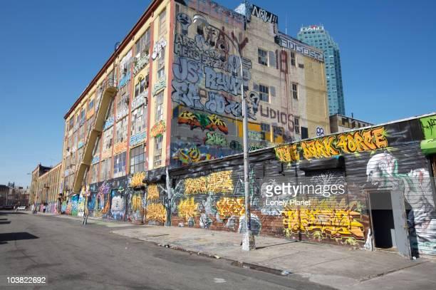 Graffiti artwork on the walls of Five Pointz.