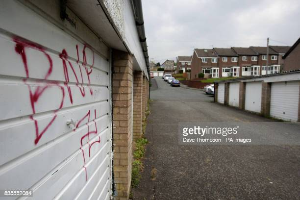 A graffiti BNP tag sprayed on a garage door in Burnley Lancashire where the BNP today won its first county council seat Labour faced a routing in the...