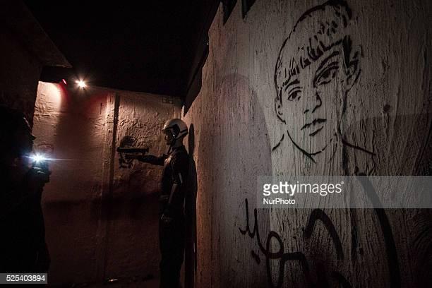 graffiti for Martyr SHashim revolution museum orginised by AlWefaq opposition society showing the history of Bahrain revolutions Photo Ahmed...