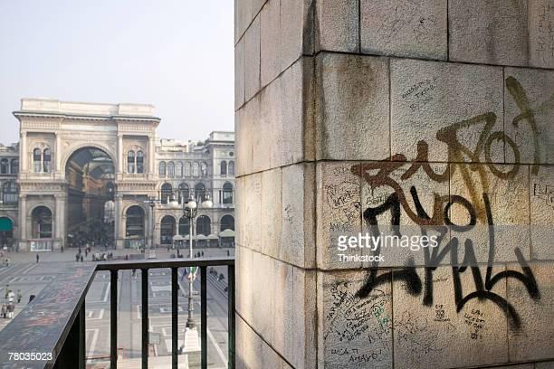 Graffiti in the Piazza del Duomo in Milan, Italy