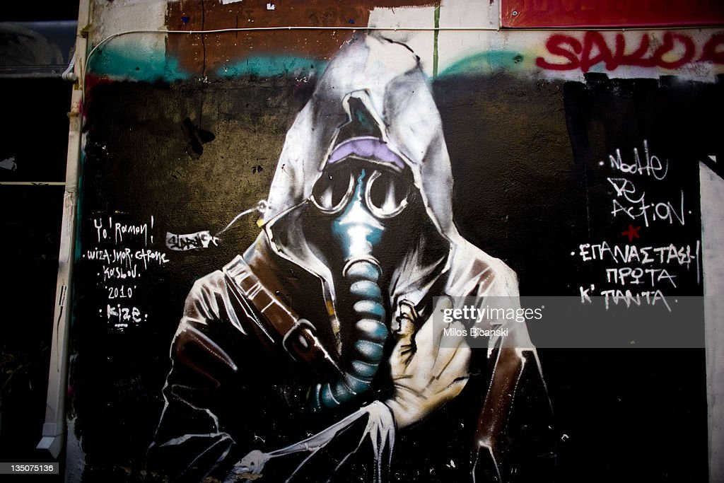 Graffiti is displayed on a building on December 6, 2011 in Athens, Greece. Graffiti artists throughout the city are expressing the effects of austerity measures that have plagued the community as Greece continues to struggle in debt while lawmakers today are set to pass next year's budget.