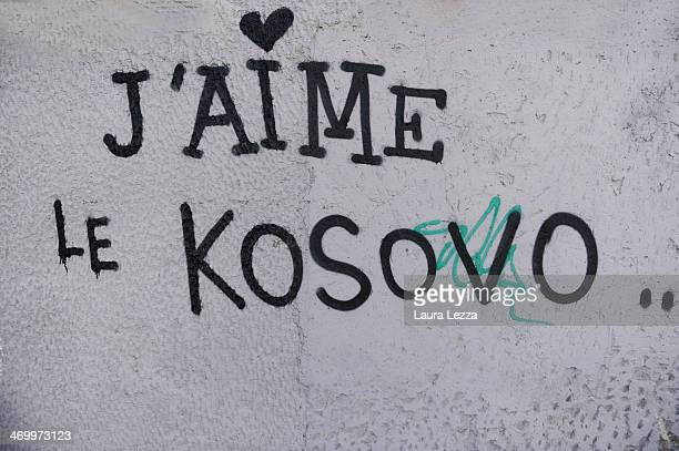 A graffiti is seen during the parade for the sixth anniversary of Kosovo's declaration of independence from Serbia on February 17 2014 in Pristina...