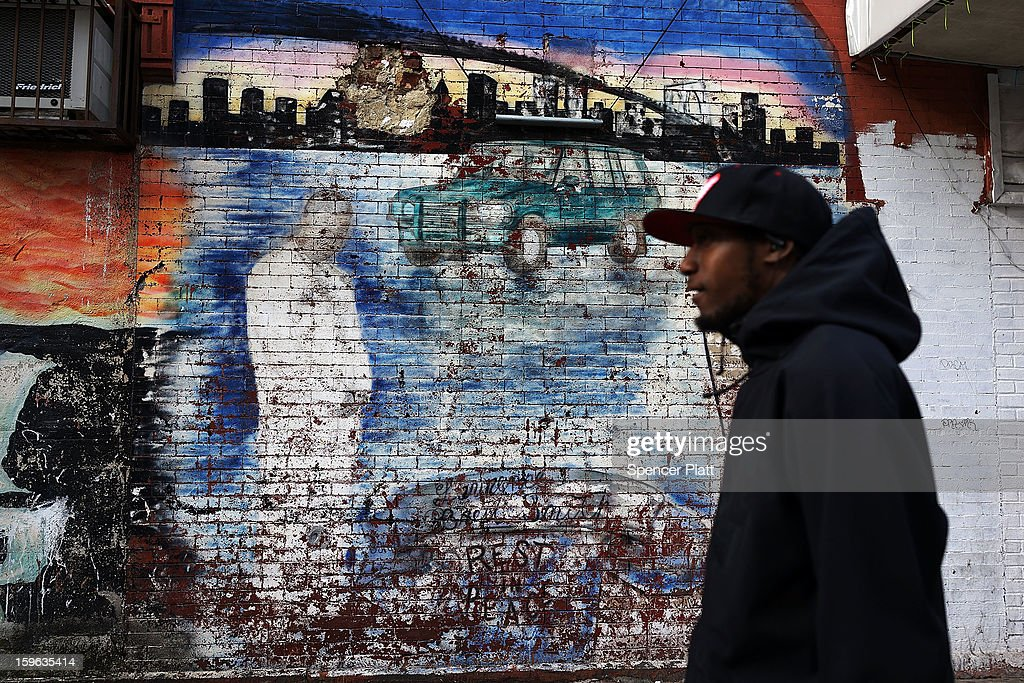 A graffiti memorial adorns a wall in memory of a man in the Bedford-Stuyvesant neighborhood on January 17, 2013 in the Brooklyn borough of New York City. Visual memorials honoring residents who in many cases met violent ends decorate many Brooklyn neighborhoods. New York Governor Andrew Cuomo recently signed into law the New York Secure Ammunition and Firearms Enforcement Act, one of the toughest gun laws in the country.