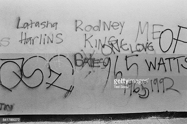 Graffiti on a wall in South Central Los Angeles Los Angeles has undergone several days of rioting due to the acquittal of the LAPD officers who beat...