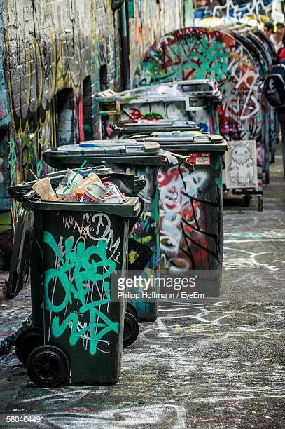 Graffiti On Garbage Bins By The Street