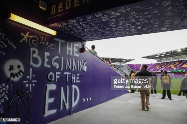 Graffiti on the walls of the tunnel at Orlando City Stadium home stadium of Orlando City during the MLS match between Atlanta United and Orlando City...
