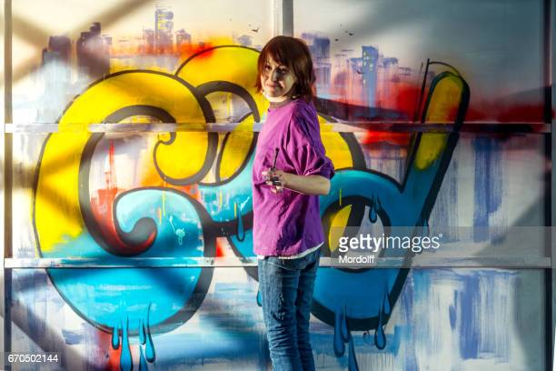 Graffiti Painter Cheerful Woman