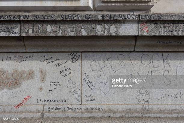 Graffiti scrawled on the exterior of Barts Hospital by fans of the popular TV show Sherlock starring Benedict Cumberbatch where the fictional...
