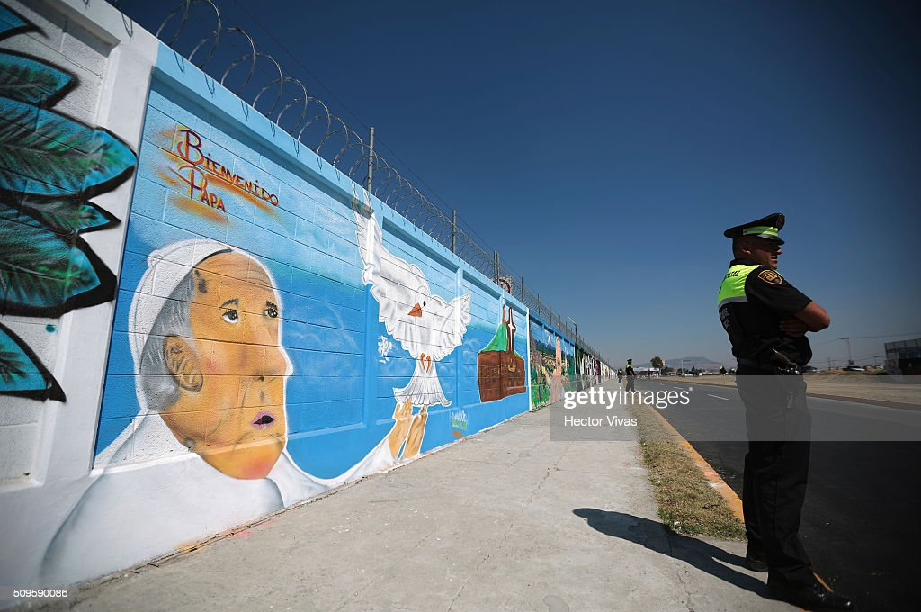 Graffiti walls painted to welcome Pope Francis are seen near the esplanade where Pope Francis will give a mass for 300 thousand people during the preparations ahead the visit of Pope Francis to Mexico at Las Americas on February 11, 2016 in Ecatepec, Mexico.