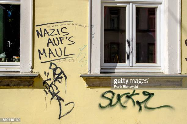 Graffiti with the saying Nazis auf's Maul is sprayed at a house wall in the township Neustadt