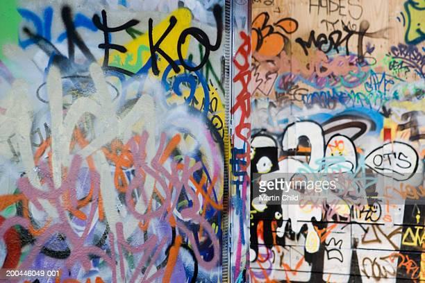 Graffiti-covered wall, full frame