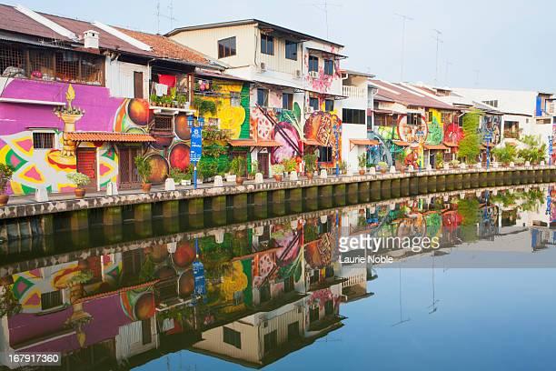 Graffitied buildings surrounding Melaka river