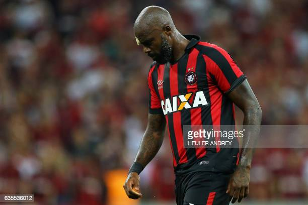 Grafite of Brazil's Atletico Paranaense gestures during a match with Paraguay's Deportivo Capiata during their Libertadores Cup football match at the...