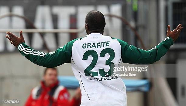 Grafite of Wolfsburg celebrates after scoring his team's first goal during the Bundesliga match between 1 FC Nuernberg and VfL Wolfsburg at Easy...