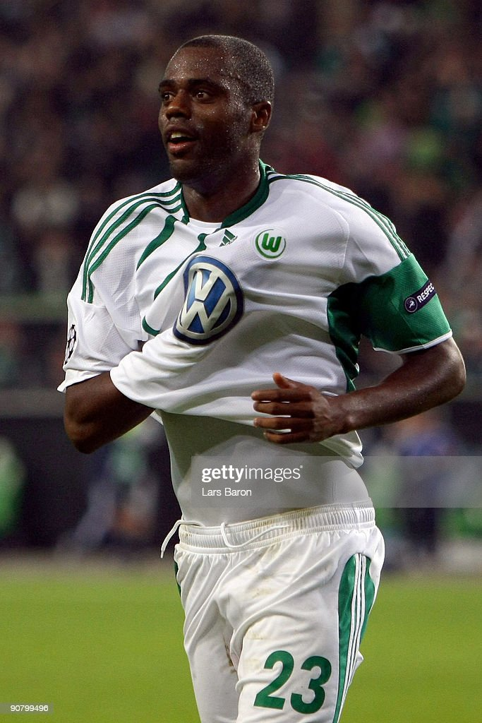 Grafite of Wolfsburg celebrates after scoring his third goal during the UEFA Champions League Group B match between VfL Wolfsburg and CSKA Moscow at the Volkswagen Arena on September 15, 2009 in Wolfsburg, Germany.