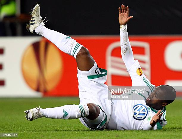 Grafite of Wolfsburg lies on the ground during the UEFA Europa League knockout round second leg match between VfL Wolfsburg and Villareal at...