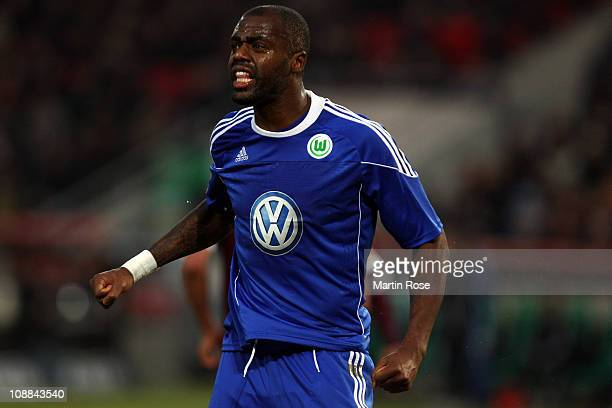 Grafite of Wolfsburg reacts during the Bundesliga match between Hannover 96 and VfL Wolfsburg at AWD Arena on February 5 2011 in Hanover Germany