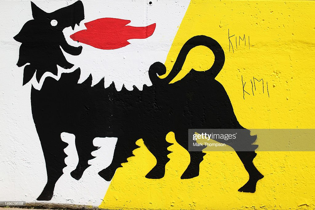 Grafitti in support of Kimi Raikkonen of Finland and Lotus is seen on the pitwall during the Hungarian Formula One Grand Prix at the Hungaroring on July 29, 2012 in Budapest, Hungary.