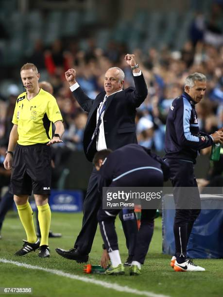 Graham Arnold coach of of Sydney FC celebrates after Jordy Buijs of Sydney FC scored scoring his teams second goal during the ALeague Semi Final...