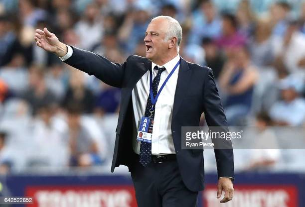 Graham Arnold coach of of Sydney FC looks on during the round 20 ALeague match between the Western Sydney Wanderers and Sydney FC at ANZ Stadium on...
