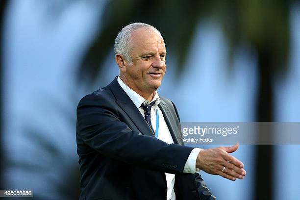 Graham Arnold coach of Sydney FC reacts after winning the round four ALeague match between the Central Coast Mariners and Sydney FC at Central Coast...
