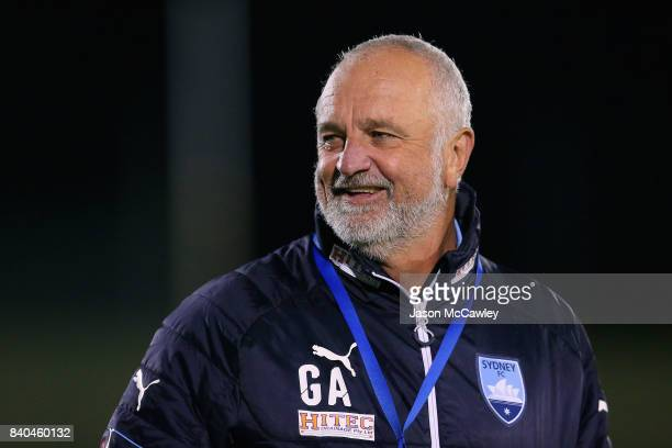Graham Arnold head coach of Sydney during the round of 16 FFA Cup match between the Bankstown Berries and Sydney FC at Sydney United Sports Centre on...