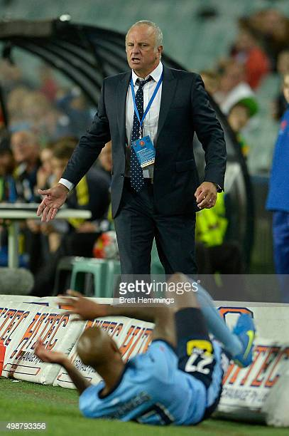 Graham Arnold head coach of Sydney FC reacts during the round eight ALeague match between Sydney FC and Wellington Phoenix at Allianz Stadium on...