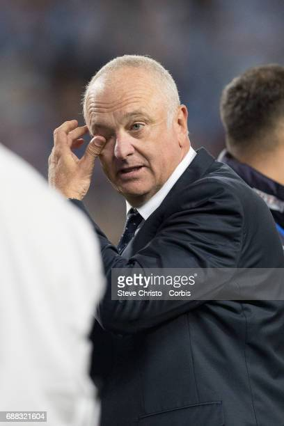 Graham Arnold of Sydney FC celebrates after winning the ALeague Grand Final during the 2017 ALeague Grand Final match between Sydney FC and the...